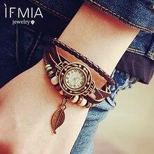 IFMIA – Bracelet en cuir PU pour femmes, 1 pièce, Vintage, tissé, enroulé, feuille de Quartz, perles, montres, bijoux de Couple