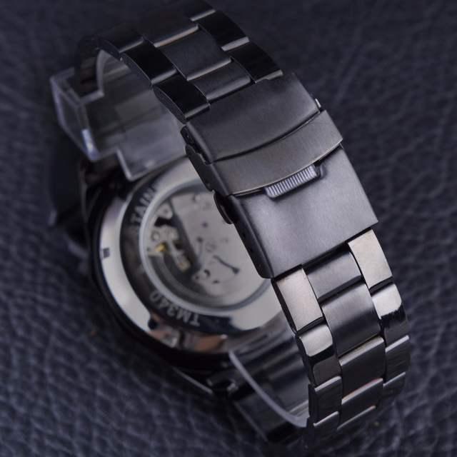 f67f2a045c5 Forsining Esporte Série de Corrida de Esqueleto de Aço Inoxidável Preto Dial  de Ouro Top Marca