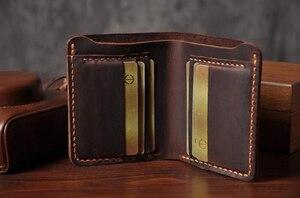 Image 5 - اليدوية Vintage مجنون الحصان حقيقية محفظة جلدية رجالي محفظة جلدية نقش محفظة صغيرة الرجال محفظة الذكور المال كليب حقيبة المال