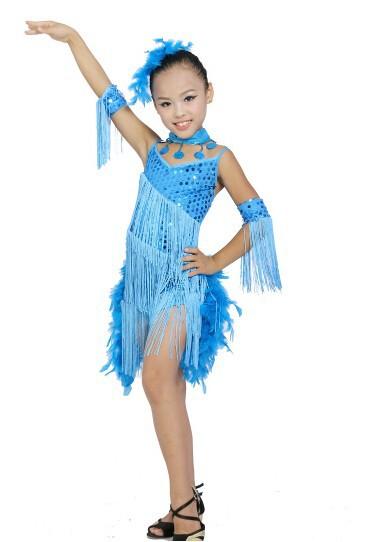 DB23553 fringe feather sequin latin dance dress-4