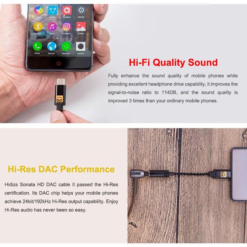 HIDIZS Sonate HD DAC II Salut-Res USB type C à 3.5mm amplificateur de casque DAC Adaptateur pour Android Téléphone PC MAC câble audio - 3