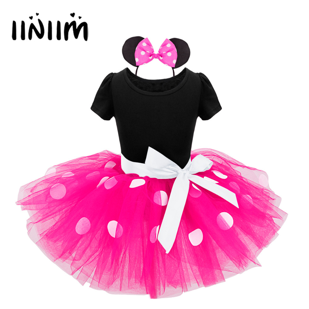 Girls Mini Mesh Polka Dots Tutu Dancer Ballet Dress with Headband Cosplay Costume Party Ballet Dress with Headband Dancewear