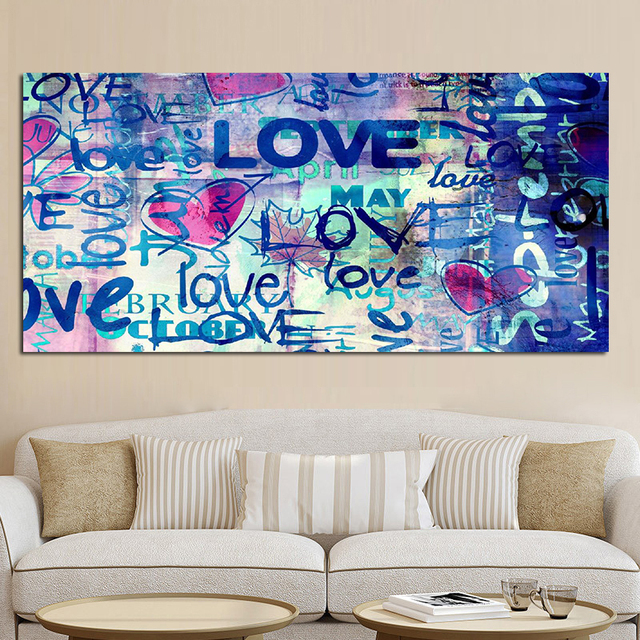 Us 67 44 5 Off Aliexpress Com Buy Gig Size Street Art Graffiti Love Quotes Abstract Oil Painting On Canvas Poster Print Pop Art Wall Pictures For