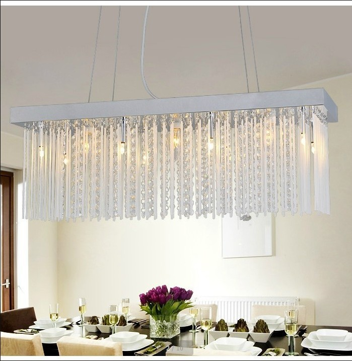 Rectangular crystal chandelier modern minimalist for Rectangular dining room light