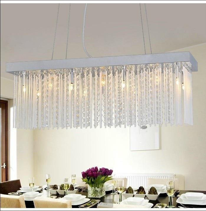 Rectangular Crystal Chandelier Modern Minimalist Restaurant Dining Bar Table Lamp Living Room Lighting In Ceiling Lights From On