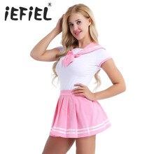 IEFiEL Donne Cosplay Sexy Lingerie Studentessa Studente Uniforme Costumi Outfit Imposta Snap Biforcazione Pagliaccetto con Mini Gonna A Pieghe
