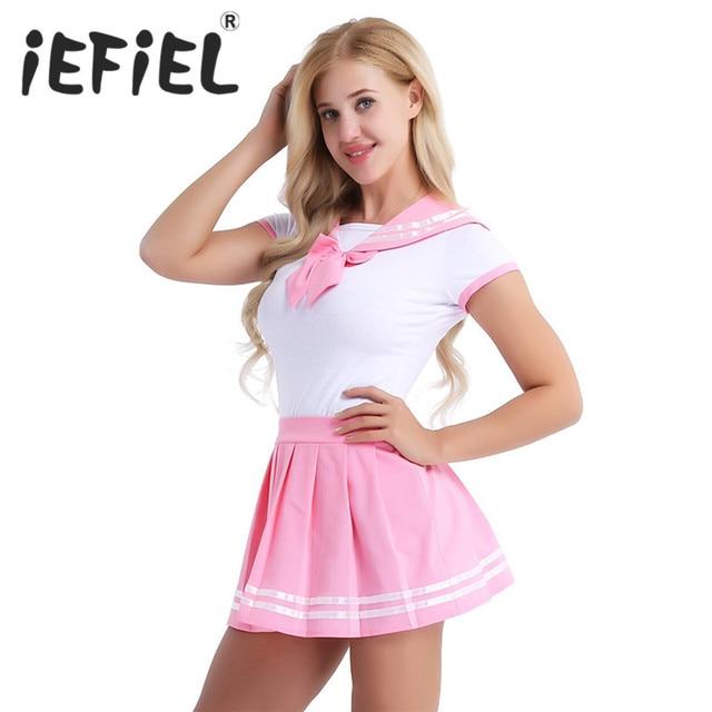 IEFiEL Vrouwen Sexy Cosplay Lingerie Schoolmeisje Student Uniform Kostuums Outfit Sets Snap Kruis Romper met Mini Plooirok