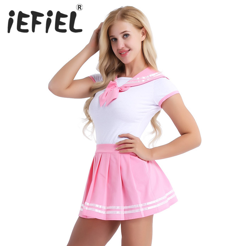 iEFiEL Women Sexy Cosplay Lingerie Schoolgirl Student Uniform Costumes Outfit Sets Snap Crotch Romper with Mini Pleated Skirt