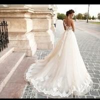 New Arrival 2017 Wedding Dress Appliques Half Sleeve Lace Up Back Vestido De
