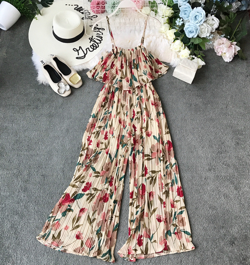 2019 Women Printed Floral Ruffled Chiffon Jumpsuits Summer Female Bohemia Wide Leg Casual Beach Wear Jumpsuit Outfit Rompers