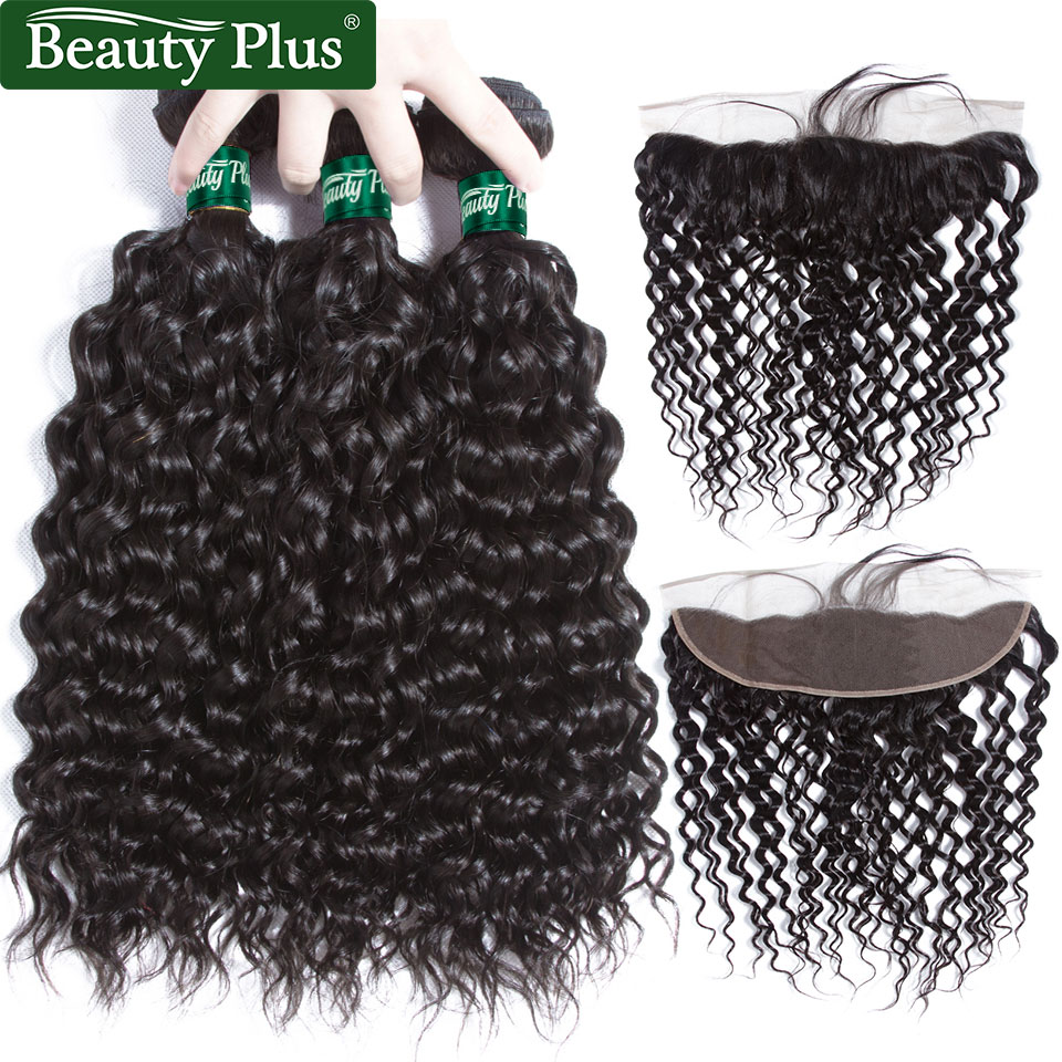 BP Water Wave Hair Bundles With Closure 13x4 Natural Black Peruvian Non Remy Hair Bundles With Frontal Human Hair With Closure