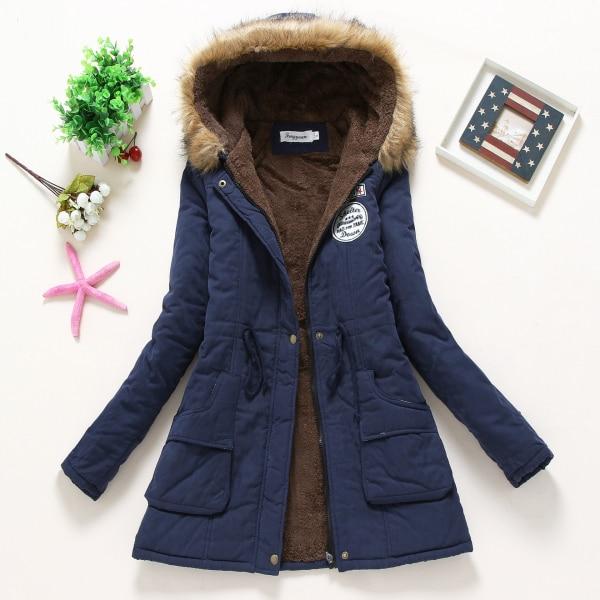 ФОТО New Fashion Warm Winter Coats Women's Jacket Lamb Wool Coat Fur Collar Coats Woman Silm Long Parka Plus Size Hoodies Parkas