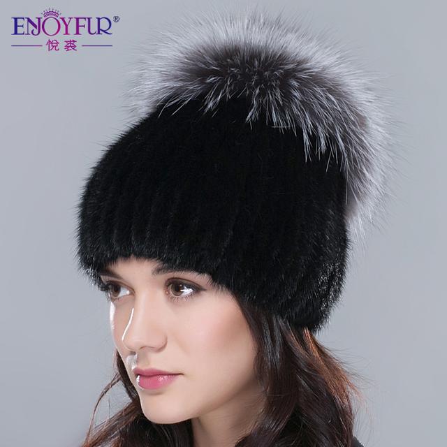 ENJOYFUR chapéu de pele para o inverno mulheres genuine mink fur hat com pele de raposa de prata coroa gorros de malha 2016 nova moda das mulheres de pele tampas