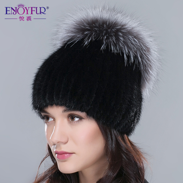 ENJOYFUR fur hat for winter women genuine mink fur hat with silver fox fur crown knitted beanies 2016 new fashion women fur caps