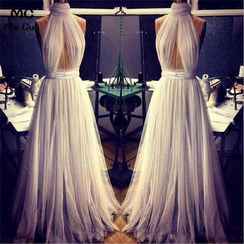 A-Line Sexy 2019 Prom Dresses Evening Gown Halter Off shoulder Grey Chiffon Pleated Long Party Evening dress for women