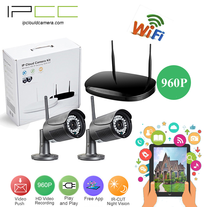 IPCC 2CH CCTV System 960P 2PCS 1.3MP wifi ip camera outdoor video Surveillance Security ip Camera System 4 channel 960P NVR Kits
