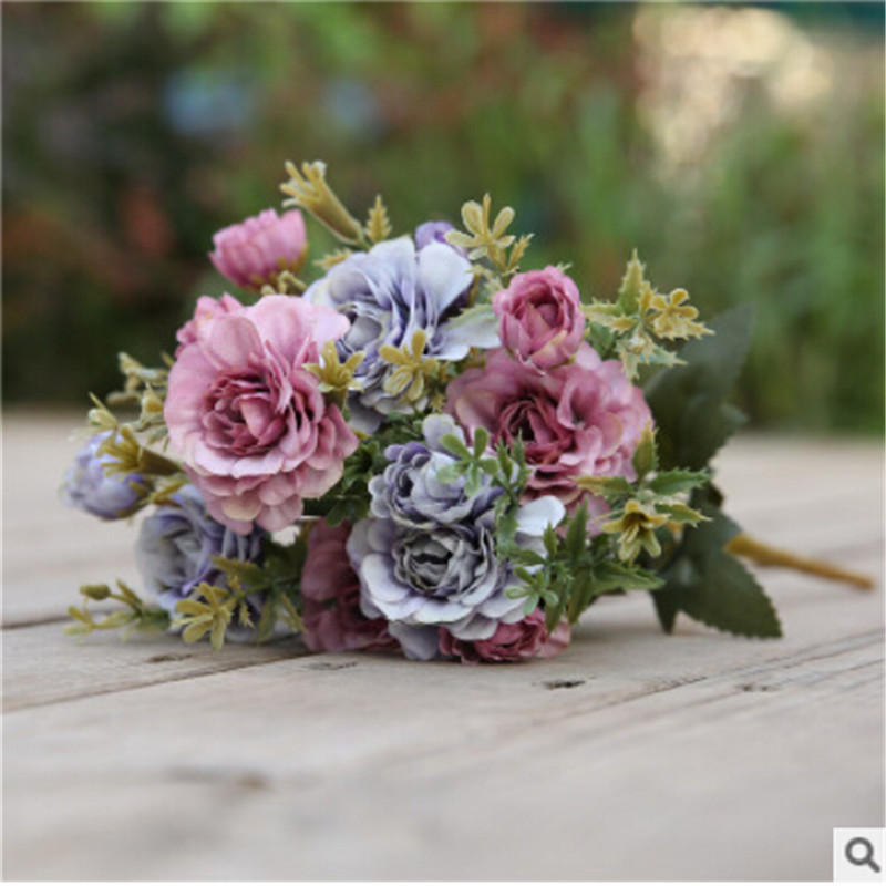 14 Head Artificial Fake Flowers Silk Peony Roses Wedding Decoration Bridal Supplies Floral Bouquet Romantic Home Plants Decor