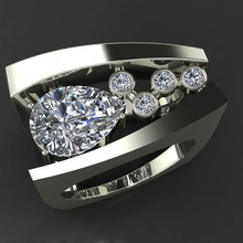 2019 New Silver Big Ring with Zircon Stone for Women Wedding Engagement Fashion Jewelry