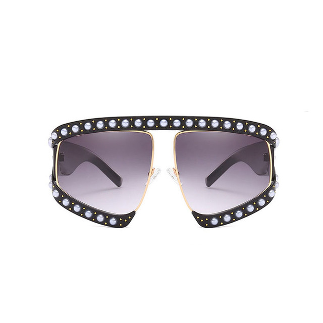 3fe6b9c09f374 2018 New Fashion Oversize Sunglasses Women Luxury brand designer Mirror Large  Frame Sun Glasses Pearl Shades UV400 Oculos Retro