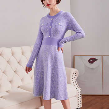 Women Sweater Dresses for Winter 2018 Elegant Buckle Diagonal Striped O-Neck Empire Midi Sweater Dress A-line Long Sleeve Dress - DISCOUNT ITEM  30% OFF All Category
