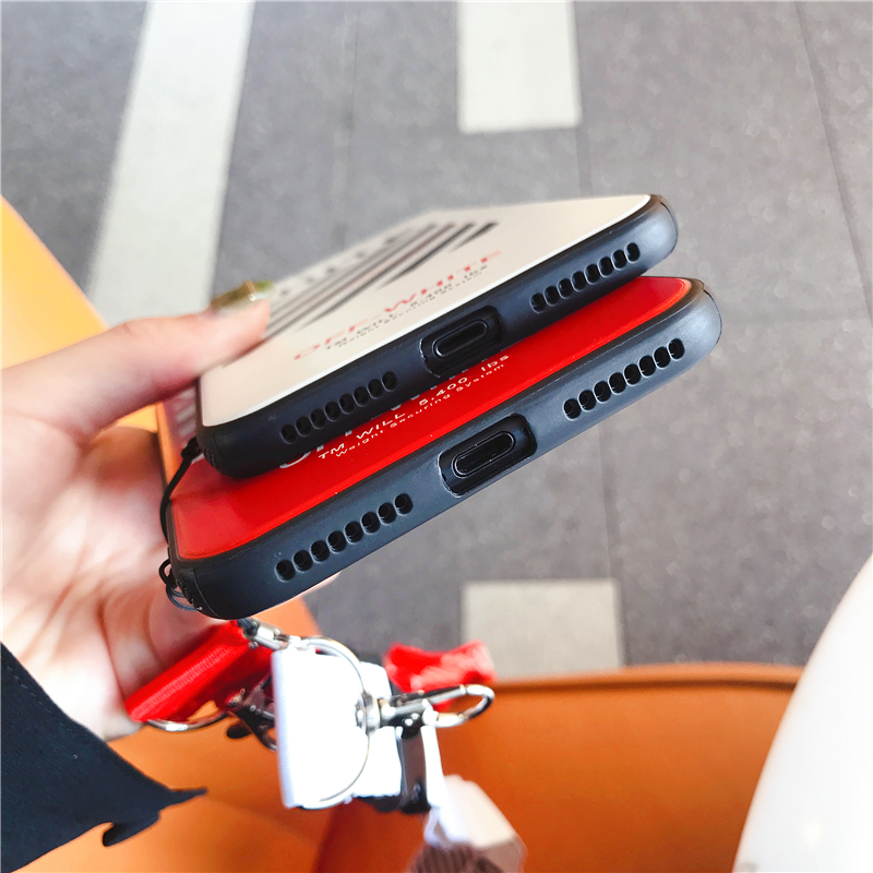 Human - Off Twill Lanyard Soft Black Tpu Phone Case for IPhone X XR XS Max 8 7 6 6S Plus White Back Cover Offwhite