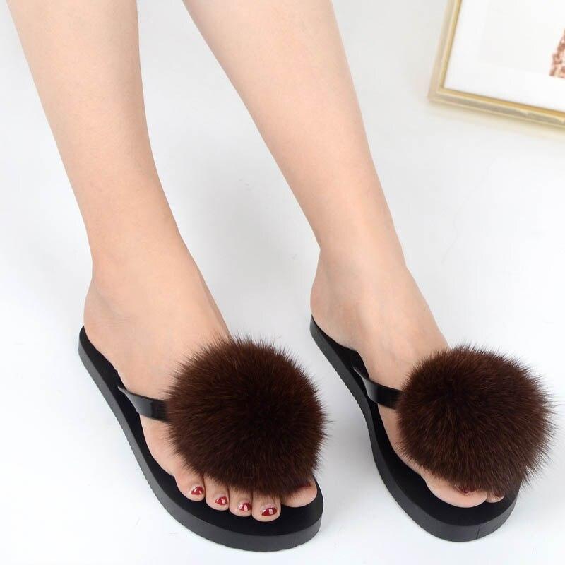 women slippers fox fur pompom (8)