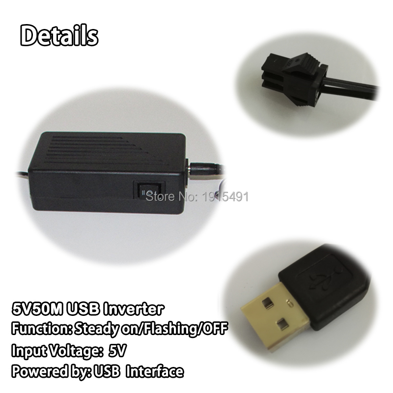 Hot DC 5V 50M USB EL wire inverter powered by Computer or Mobile ...