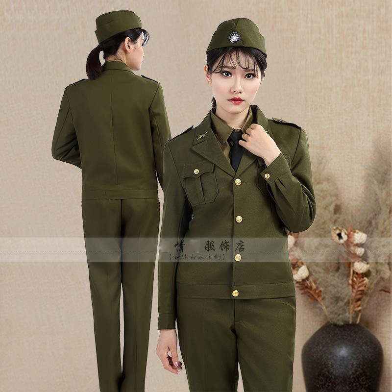 The Republic of China Female officers American style Military uniform clothing Woman spy film TV stage costume photography 2017 autumn kids costume girls hanfu stage clothing photography costume song of the goose