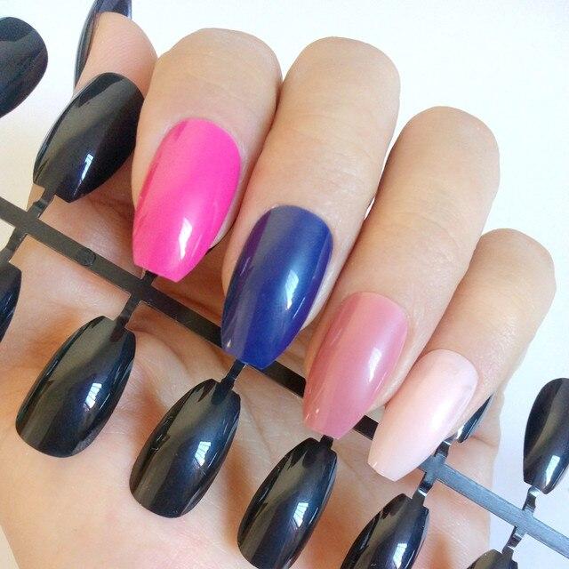 Aliexpress.com : Buy Flat Top Fake Nails Colors Coffin Nail Acrylic ...