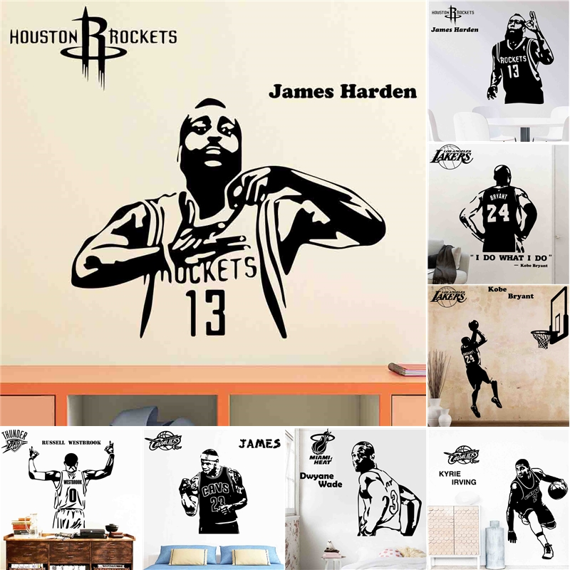 American Style Nba Stars Vinyl Wall Stickers Wallpaper Lbj