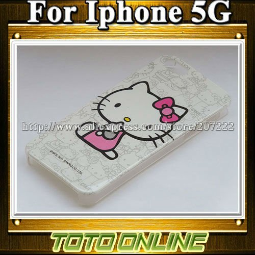 20pcs/lot Hard Plastic IMD Glossy Cute Hello kitty Cases for iPhone 5 5S Fast Shipping