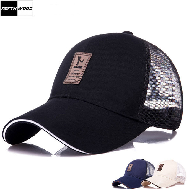 NORTHWOOD  2018 New Fashion Summer Cap Mesh Baseball Cap Men Women Long  Brim Snapback Trucker Cap Solid Casquette Homme 0a4c2fb514f5