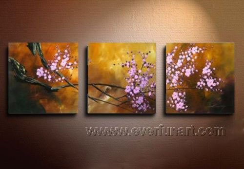 Handpainted Modern 3 Piece Flower Oil Painting On Canvas