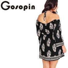 Plus Size Floral Print Bardot Neck Black Off-shoulder Dress Casual Dress Loose Party Club Dress