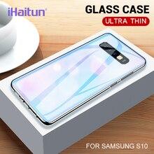 iHaitun Luxury Glass Case For Samsung Galaxy S10 S10+ Ultra Thin Transparent Back Cover Plus S10e Soft Edge