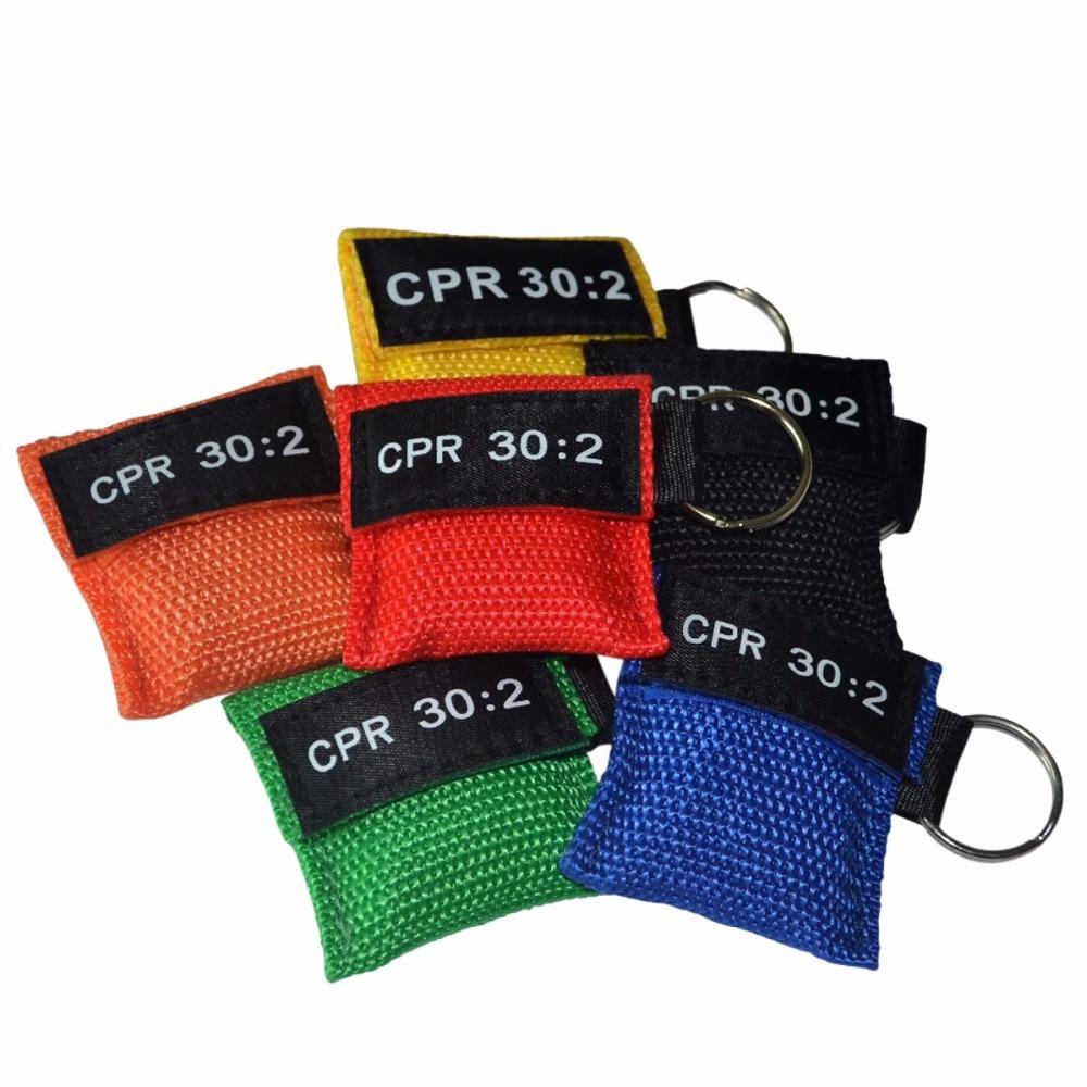 100 Pcs/Lot Couleur En Option CPR Masque de Réanimation CPR Écran Facial Bouche-à-Respiration par la bouche Clé Anneau CPR 30: 2 d'urgence de Sauvetage Kit
