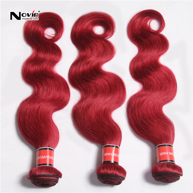 7A Hot Red Malaysian Remy Hair Body Wave 99j red Weaving Products 3 Pcs/Lot Malasian Burgundy Human Extension Wavy