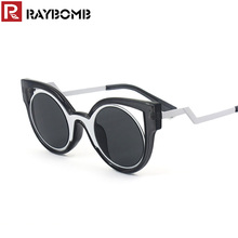 RAYBOMB New Fashion Round shape Sunglasses women Mirror coating lens vintage Sun glasses female Cat Eye ladies Oculos de sol