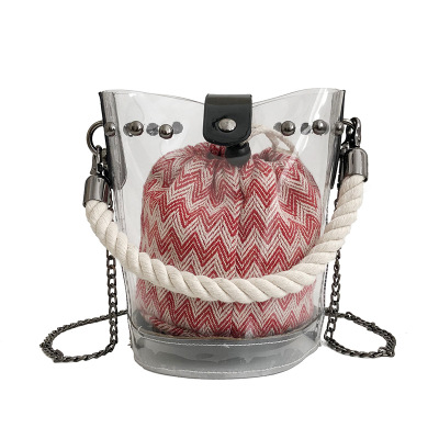 Mode femmes rayé sacs à main chaînes décontracté PU cuir Transparent sacs à bandoulière dame seau sacs clairs