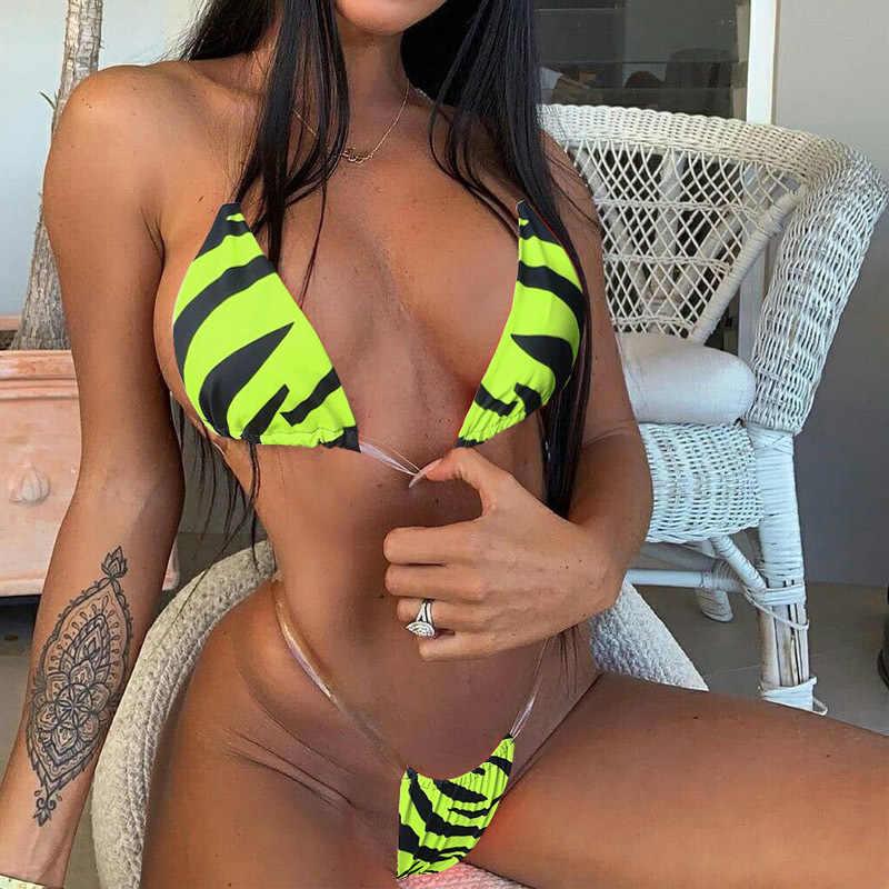 Tanga brasileño Correa transparente cebra patrón Bikini Set 2019 traje De baño mujeres traje De baño Halter Maillot De Bain ropa De playa