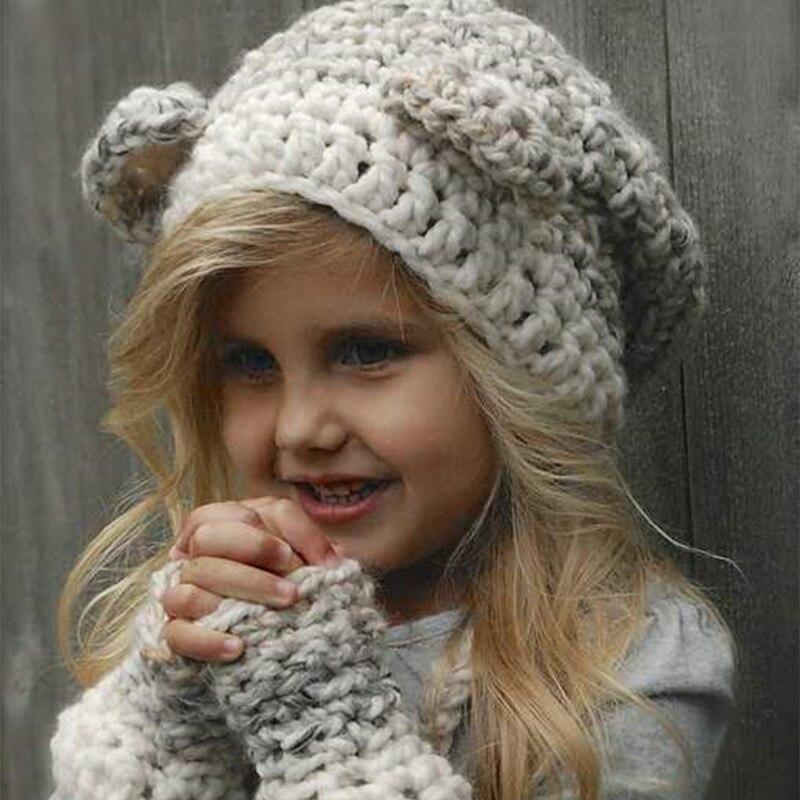 Handmade Knitted Cute Baby Girl Boy Winter Hat Cat Ears Lovely