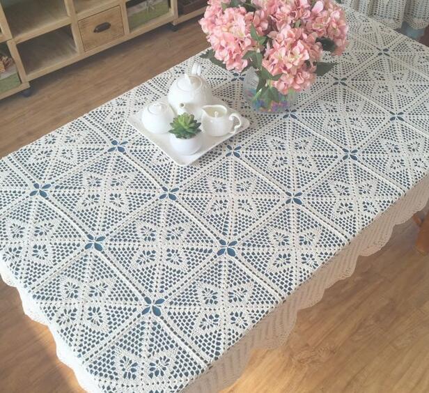Navidad mano crochet blanco marfil 120x180 cm algodón rectángulo ...