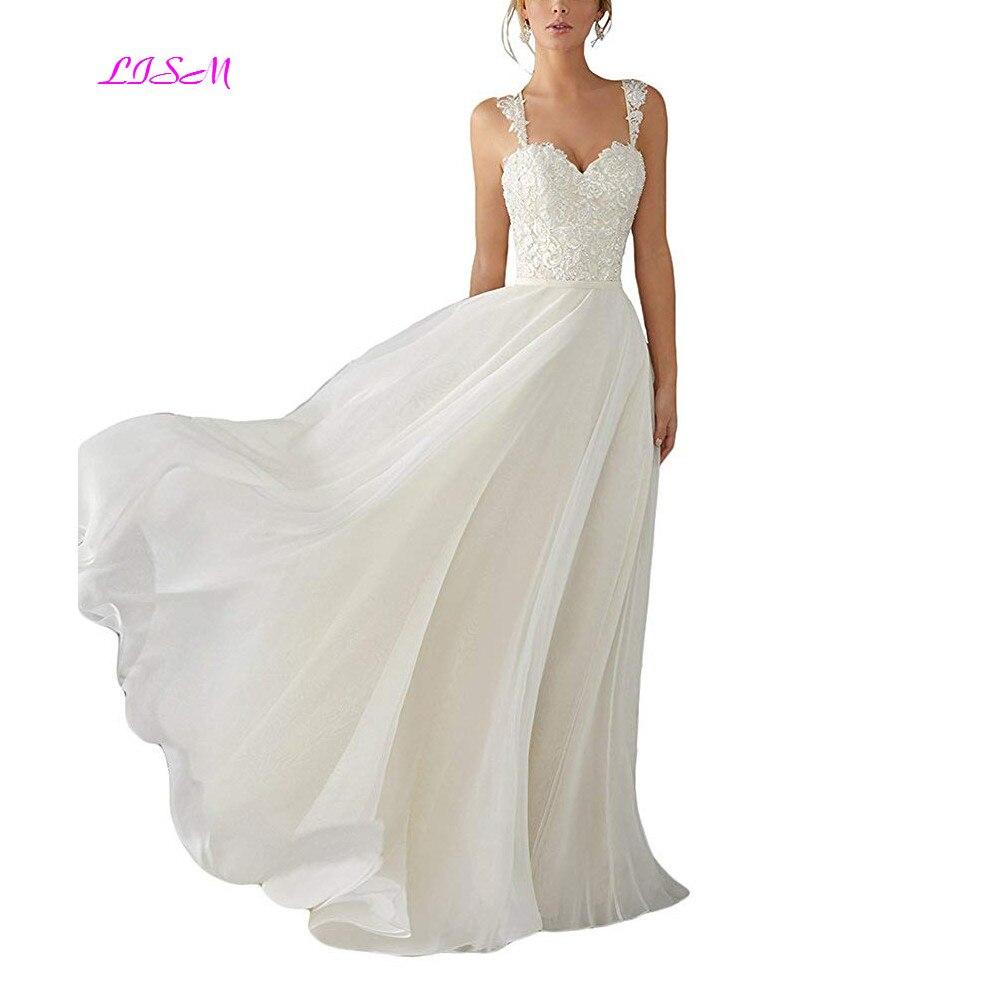Sweetheart Lace Wedding Dress: 2019 New A Line Spaghetti Straps Chiffon Wedding Dresses