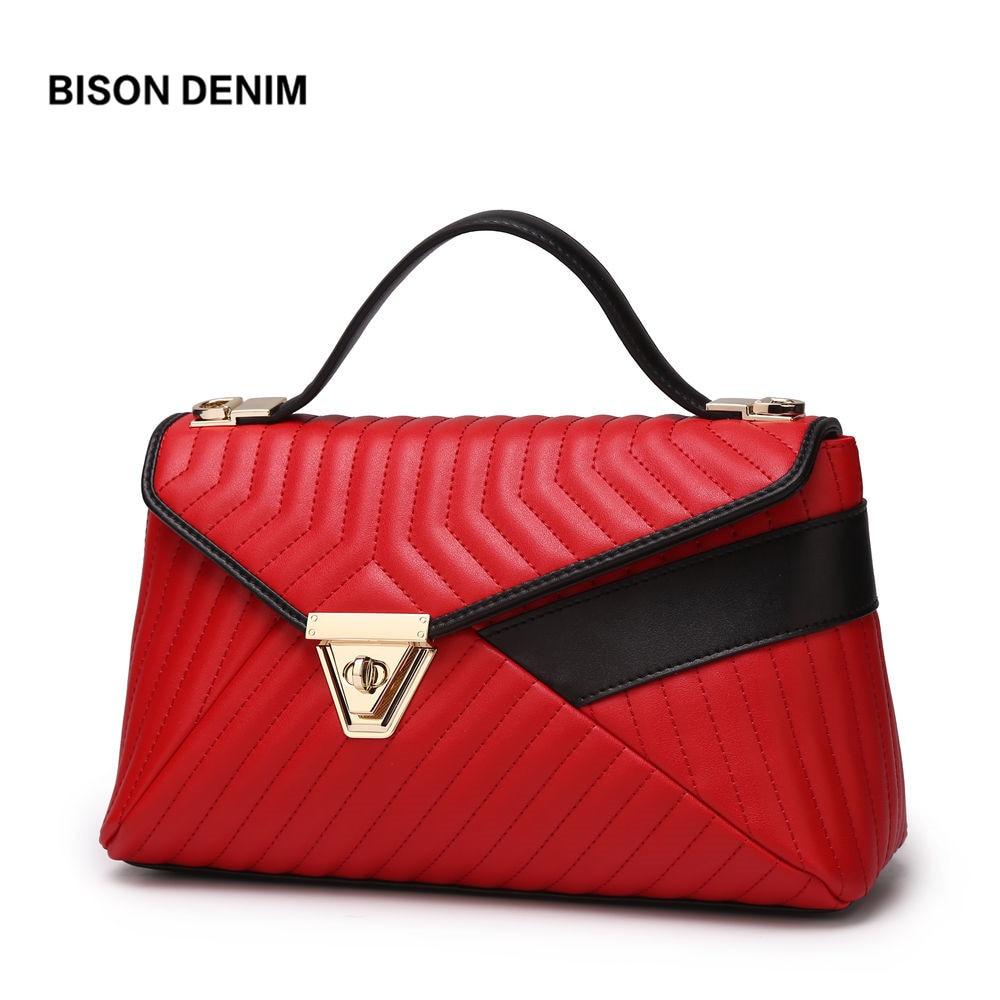 BISON DENIM Soft Leather Women Handbag Striped Female Shoulder Bags Ladies Tote Bag Crossbody Bags for Women Messenger Bag N1188