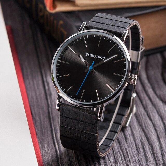Véritable BOBO oiseau L-Q08 Ultra mince montre d'affaires Quartz En Bois