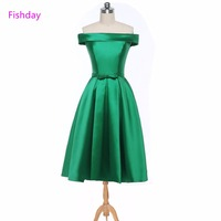 Fishday Evening Dresses Satin Green Mint Boat Neck Sexy Short Butterfly Turquoise Gown Prom Mother of the Bride For Women B20