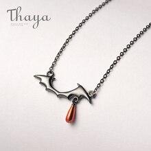 Collar de Thaya con diseño de vampiro S925, collar negro plateado, colgante de gota roja, collar para mujer, regalo hecho a mano Joyería de Halloween