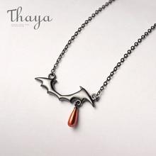 Thaya吸血鬼デザインネックレスS925 シルバーブラックネックレス赤ドロップペンダントネックレス女性手作りハロウィンジュエリーギフト