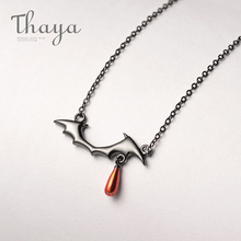 Thaya Vampire Design Necklace S925 Silver Black Necklace Red Drop Pendant Necklace for Women handmade Halloween Jewelry Gift
