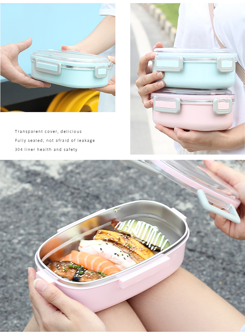 TUUTH Cute Lunch Box Stainless Steel Dinnerware Food Storage Container Children Kids School Office Portable Bento Box B9